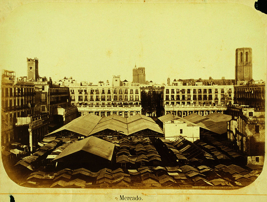 Top view of the Boqueria market. 1874